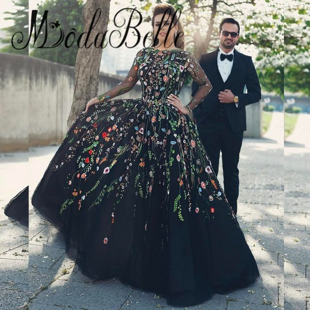 Elegant Embroidery Embellishment Ball Gown Traditional: Floral Evening Gowns Elegant Dubai Embroidery Evening