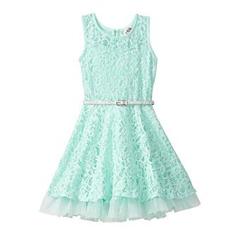 Beautees Girls' 4-6X Belted Lace Dress
