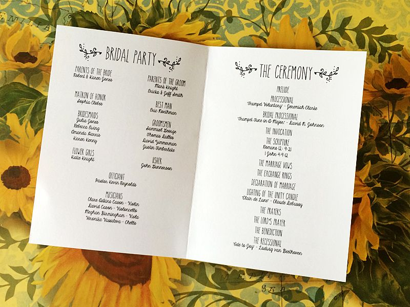 Doodle Love Ceremony Program Booklet In 2019