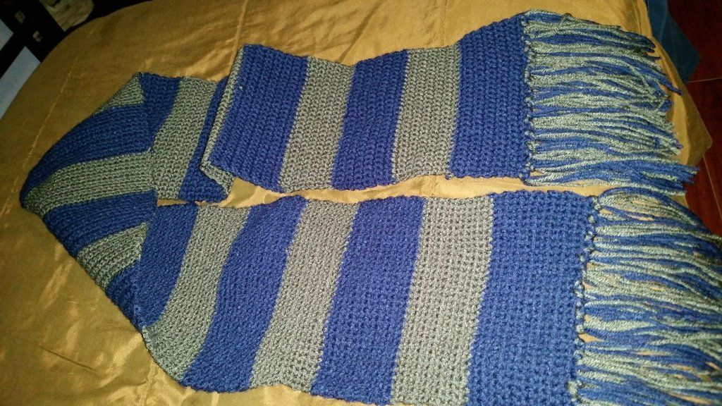 Harry Potter Ravenclaw Scarf Crochet Hand Crafted Blue And Gray