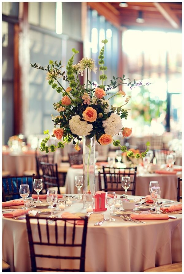 Pretty coral peach spring wedding colors