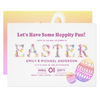 Fun Easter Invitations Pink Egg Hunt  Script Gifts Template