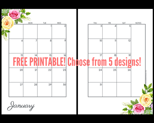 Blue /& Yellow Floral Dated Monthly Calendar Inserts Choose from Letter or Half-letter size