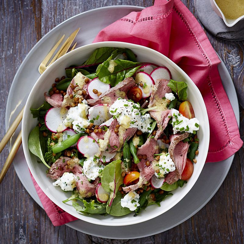 Rare Roast Beef Lentil And Cottage Cheese Salad Healthy Recipe Ww Australia Recipe Cottage Cheese Salad Rare Roast Beef Cheese Salad