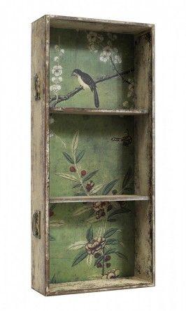 Drawer-wallpapered & shelf added