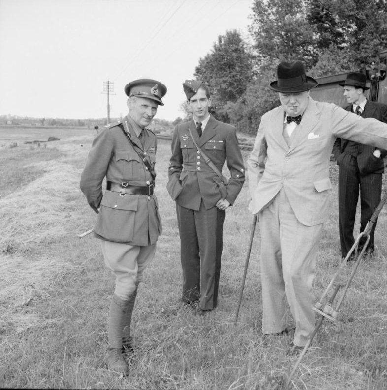Lieutenant General Bernard Montgomery, King Petar II of Yugoslavia, and British Prime Minister Winston Churchill in Britain, 1944