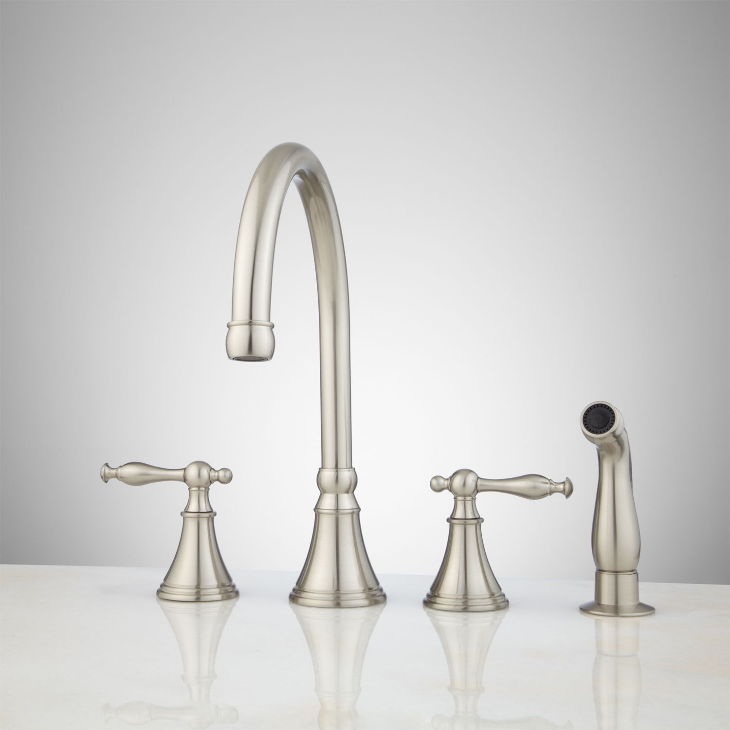 Radley Widespread Kitchen Faucet with Hand Spray - Brushed Nickel ...