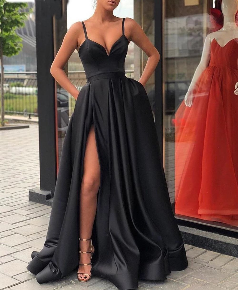 Sexy A-Line Sleeveless Straps Satin Evening Dress with Pocket from MychicDress