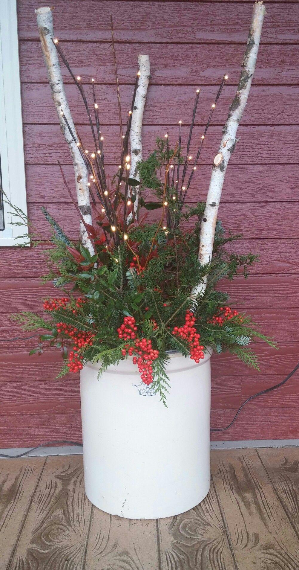 Christmas Planter With Greenery Minnesota Birch Nandina