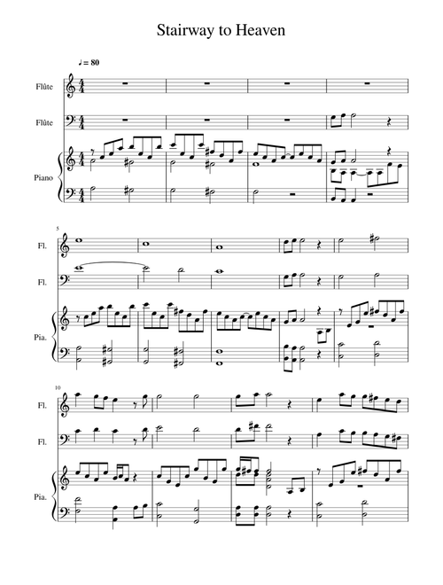Stairway To Heaven Harp Flutes Sheet Music For Flute Piano Download Free In Pdf Or Midi Musescore Com Flute Sheet Music Sheet Music Stairway To Heaven