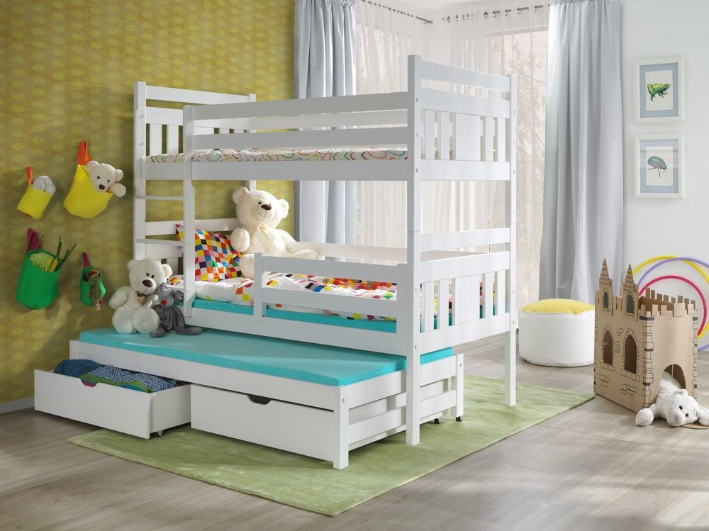Triple Trundle Wooden Bunk Beds Storage Mattresses White Solid Frame