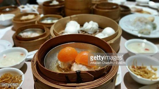 Close Up Of Fresh Egg Dim Sum In Container