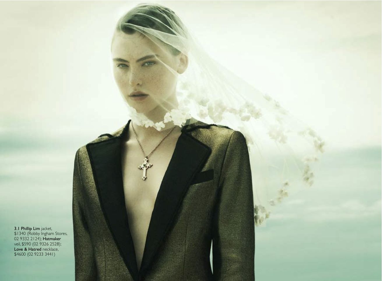 Hatmaker Bridal Veil for Grazia Magazine Australia - styled my Mark Vassallo shot by David Mandelberg
