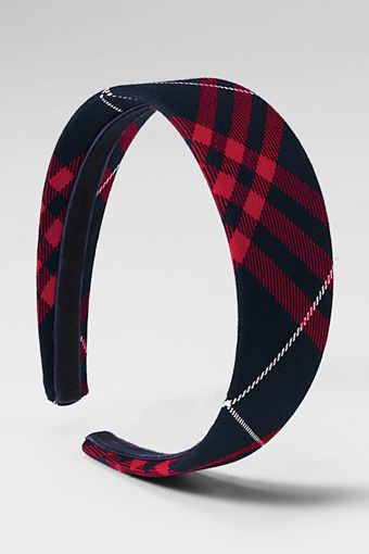 School Uniform Girls' Wide Headband from Lands' End - Classic Navy Large Plaid