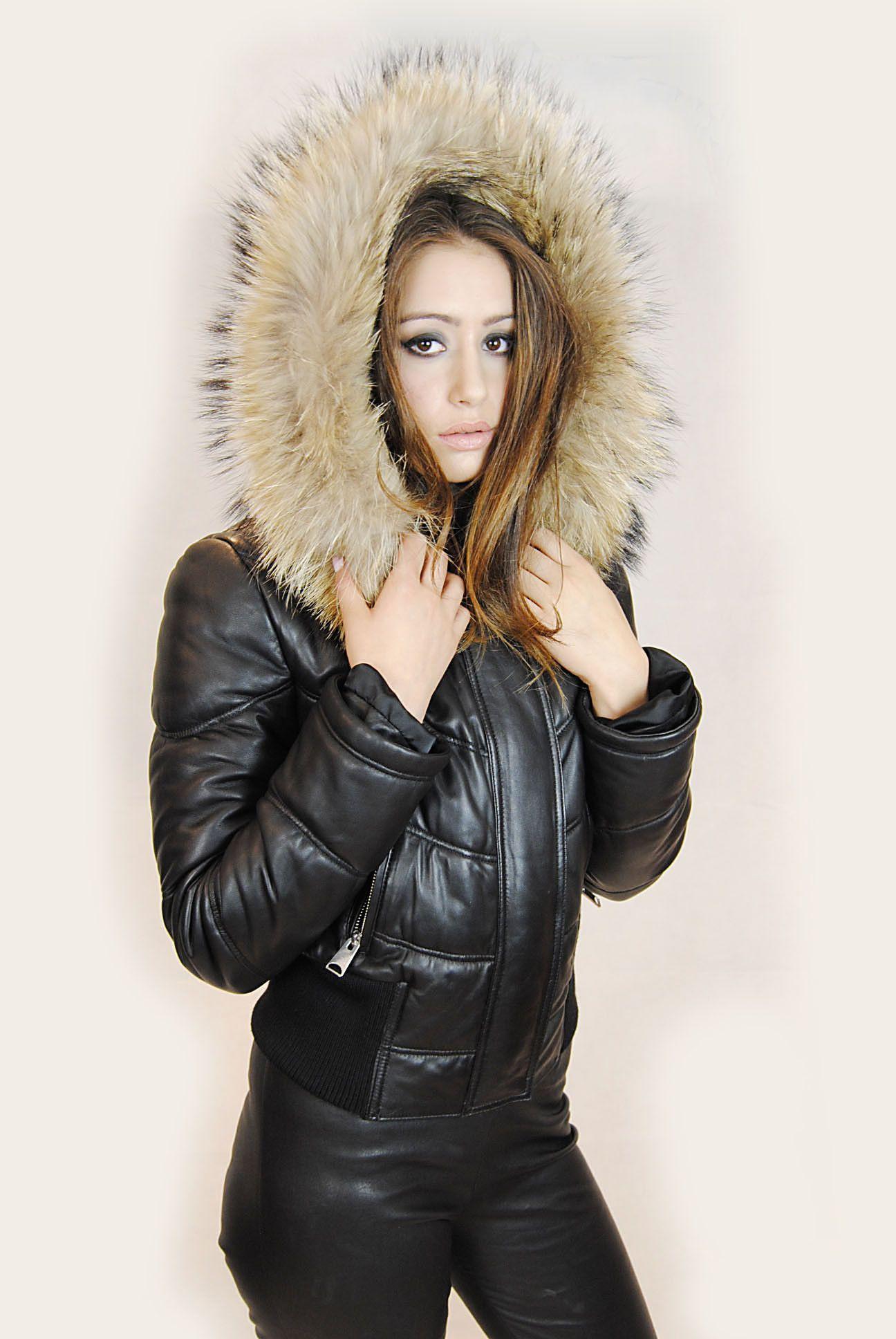 Jessimara Black Leather Puffer Bomber Coat With Raccoon Fur Trim Leather Hoodie Bomber Coat Denim Fashion [ 1936 x 1296 Pixel ]