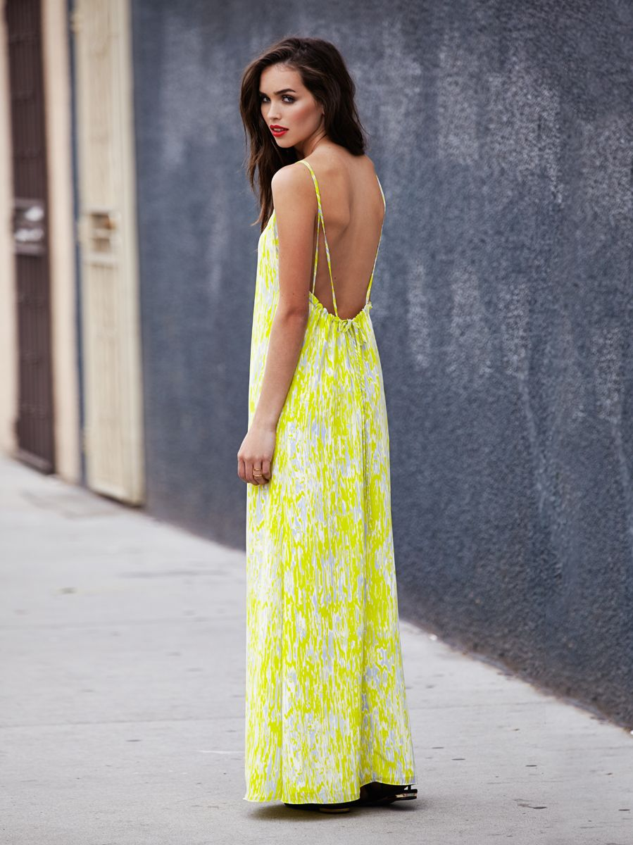 neon yellow bright maxi dress low back dress summer