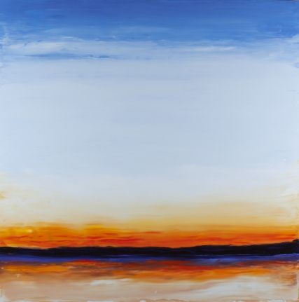 Cerulean Sunrise; oil on aluminum #markwhite #markwhitefineart #mwfa #fineart #gallery #landscapes #oilpaint #paintings #patina #patinedaluminum #water #reflections #santafe #newmexico #canyonroad #artist #painter #floating #aluminum #engraved