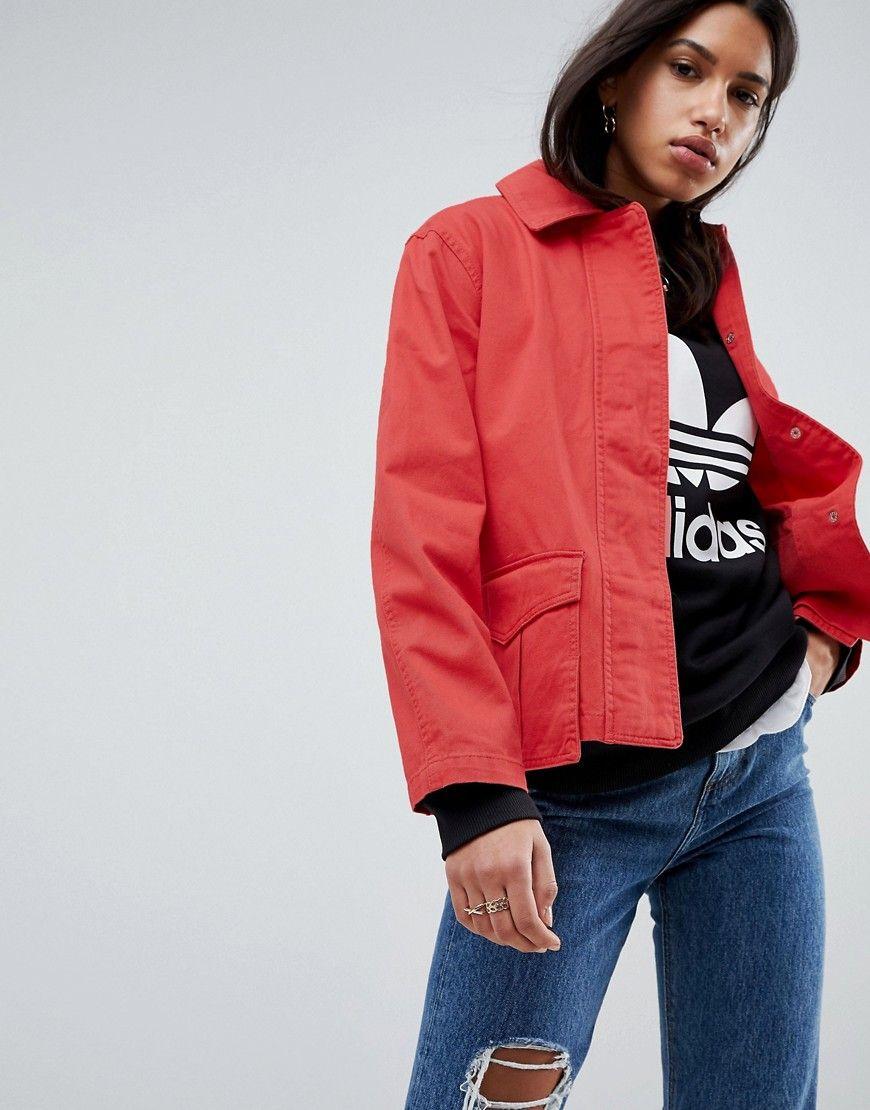 ASOS - Jacke aus gewaschener Baumwolle - Rot Jetzt bestellen unter: https://mode.ladendirekt.de/damen/bekleidung/jacken/sonstige-jacken/?uid=a9184f35-d575-5a1c-839e-ff704a17ad5c&utm_source=pinterest&utm_medium=pin&utm_campaign=boards #mäntel #female #sonstigejacken #bekleidung #jacken