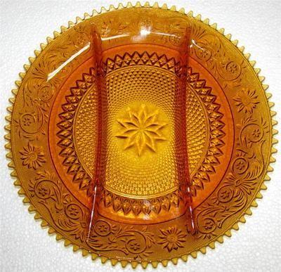 Duncan Miller Sandwich Glass Amber Divided Relish Plate 3 Part