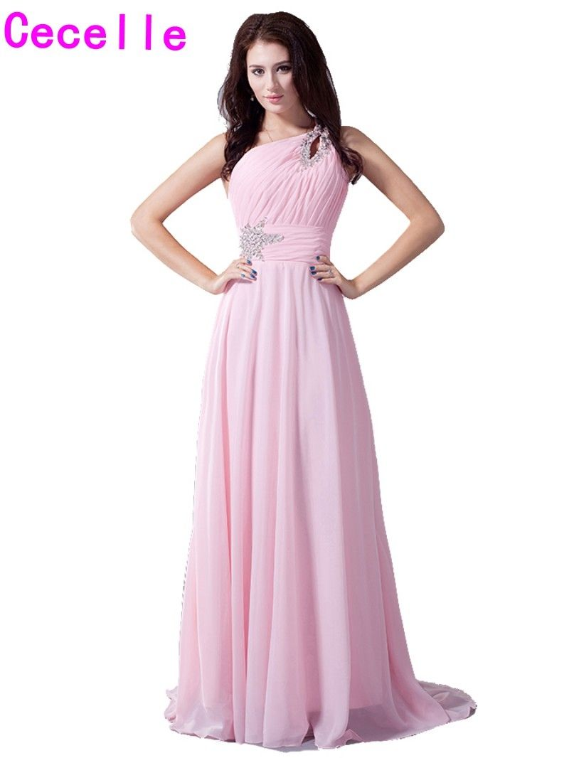 real pink one shoulder bridesmaids dresses beaded pleats ruched