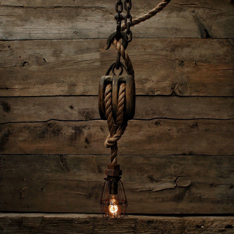 Pulley light barn wood pendant light manila rope light for Wooden nickel cabins