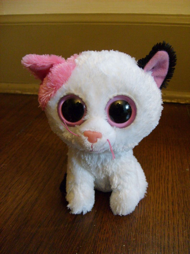 Ty Beanie Boo Plush Muffin pink black white Kitty Cat doll big eyes 6