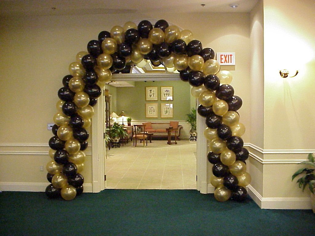 Balloon arch gold and black balloons over ft myers for Arch decoration supplies