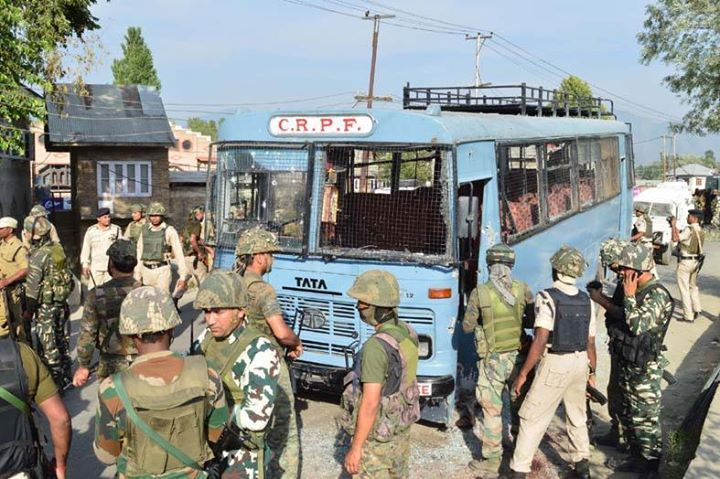 A CRPF bus which was targeted by the militants at Pampore on Saturday.  Excelsior/Younis Khaliq