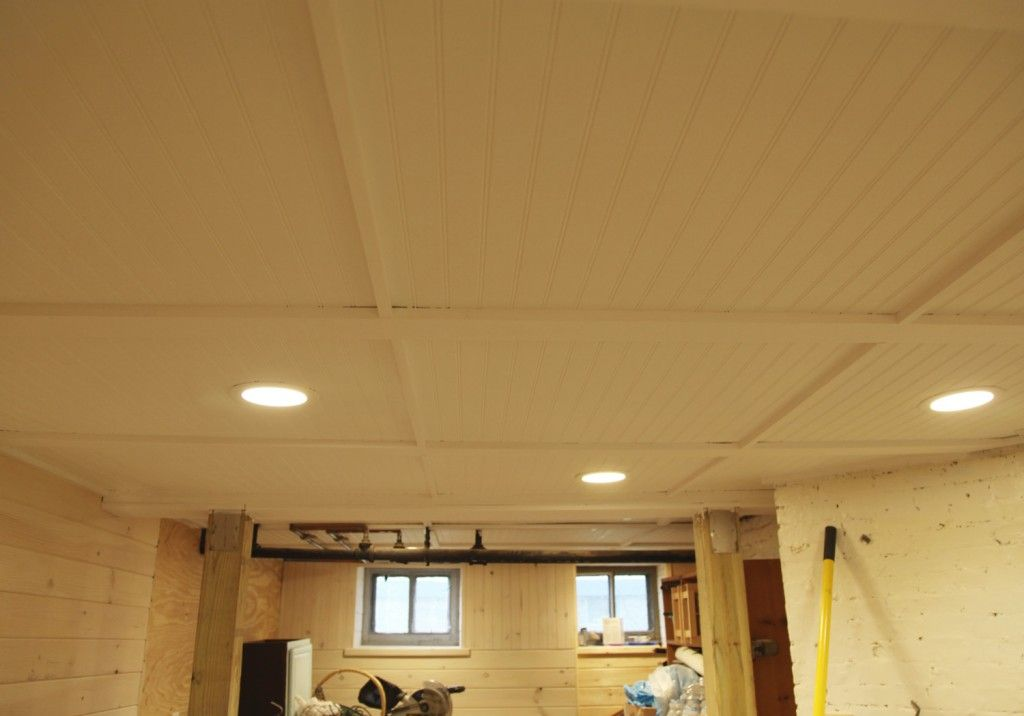 Beadboard Ceiling With Removable Sections In The Basement