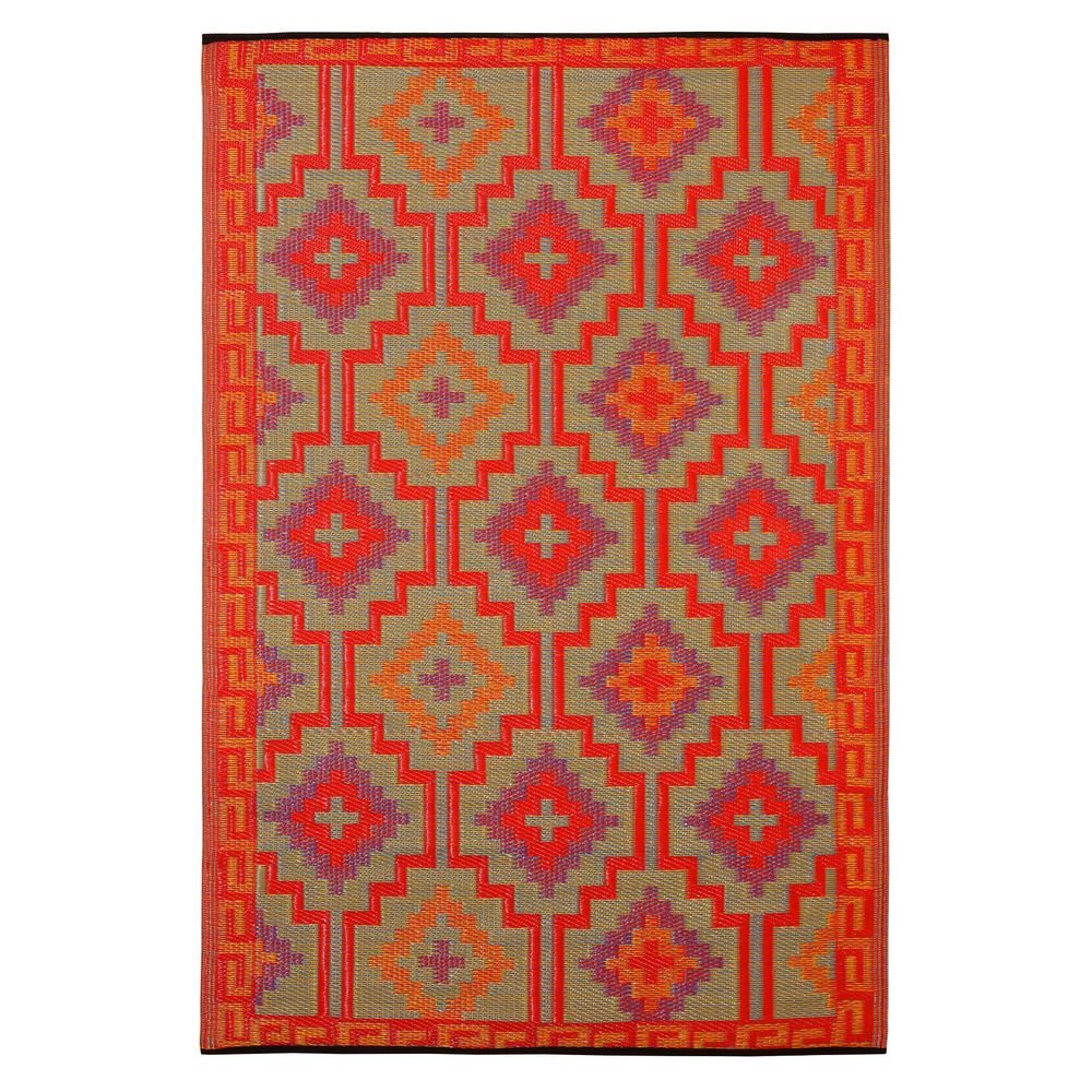 Lhasa Indoor Outdoor Orange And Violet 3 Ft X 5 Ft Area Rug Fab Habitat Outdoor Rugs Contemporary Outdoor Rugs
