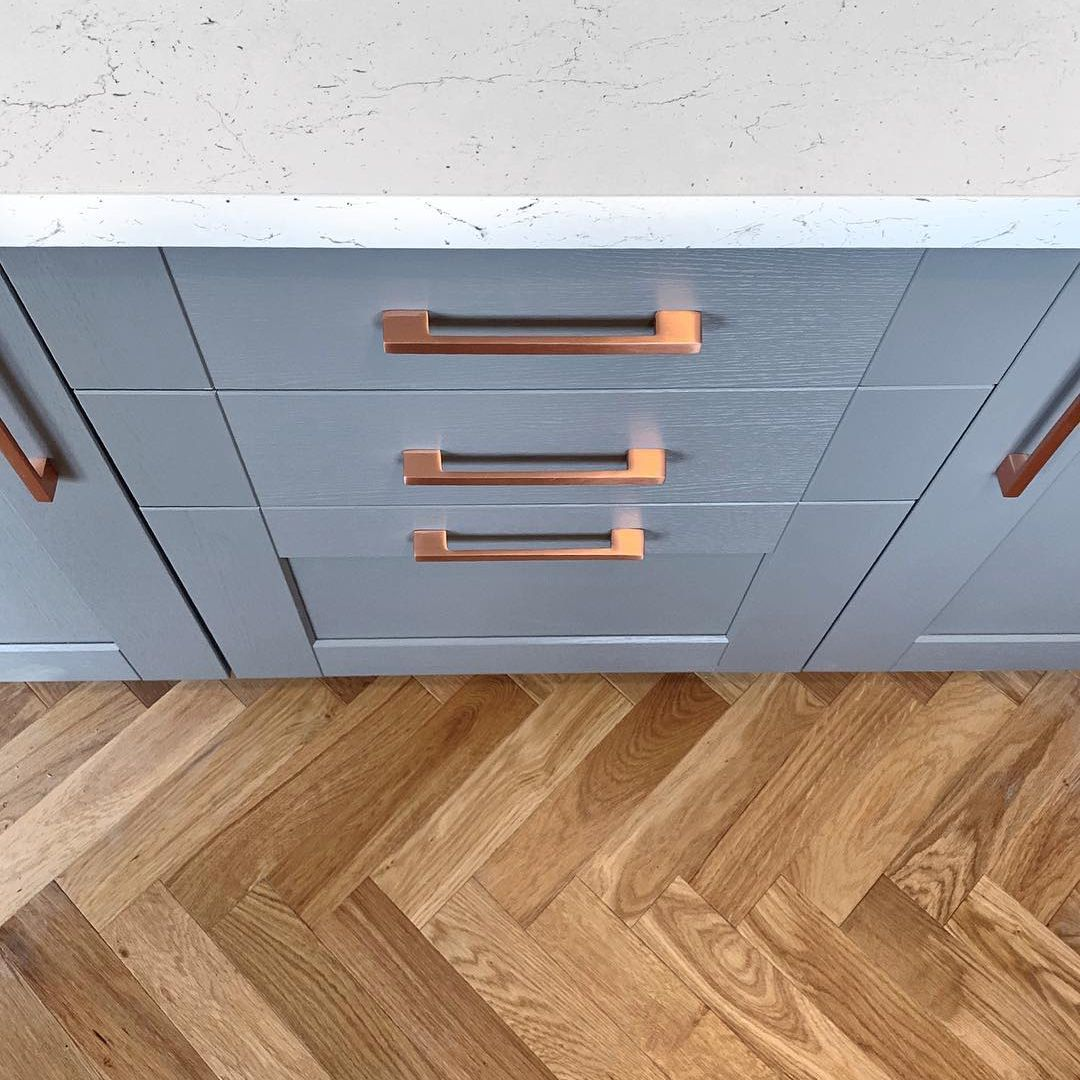 Fairford Slate Grey Kitchen with Copper Handles