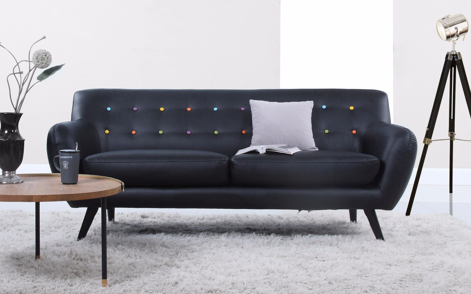 Mid Century Modern Tufted Bonded Leather Sofa In Color Black With Multi  Color Button Details