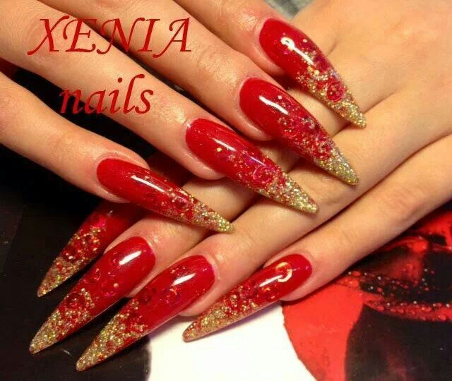 Red N Gold Stilettos Nails Today Nails Nail Designs