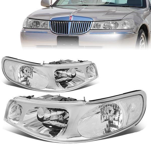 D Motoring 98 02 Lincoln Town Car Headlights Chrome Housing
