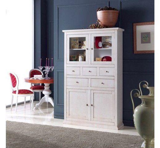 Credenza dispensa in legno shabby chic bianco anticato art - Mobili legno bianco anticato ...