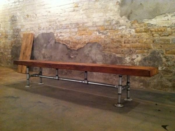 wood pipe bench - Google Search