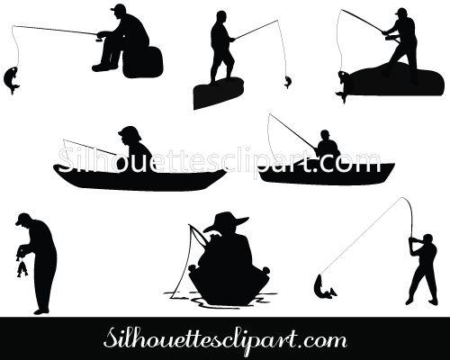 Man Fishing Silhouette Vector Graphics Download Fish Silhouette Fishing Boat Tattoo Fish Man