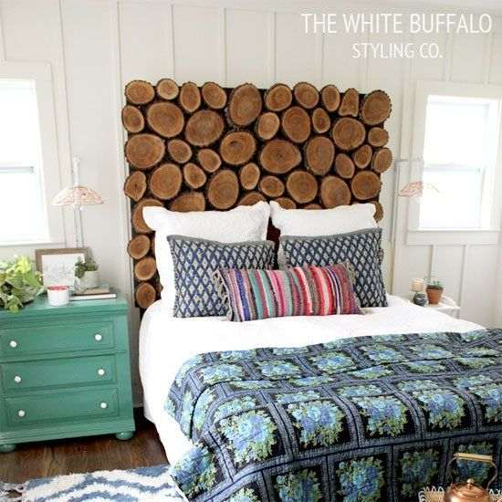 Check out this wood round headboard DIY by The White Buffalo Styling Co.!