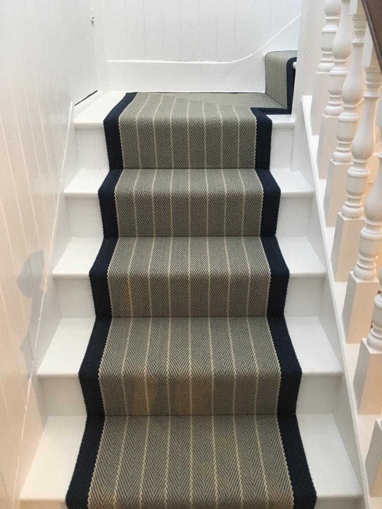 Roger Oates Dart Midnight Stair Runner Carpet With Mitred Landing | Roger Oates Stair Runners | Middle | Hallway | Art Deco | Corner | Victorian