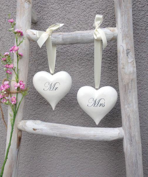 Hochzeitsdeko Holzherzen Mr Mrs Vintage Hochzeit Ein