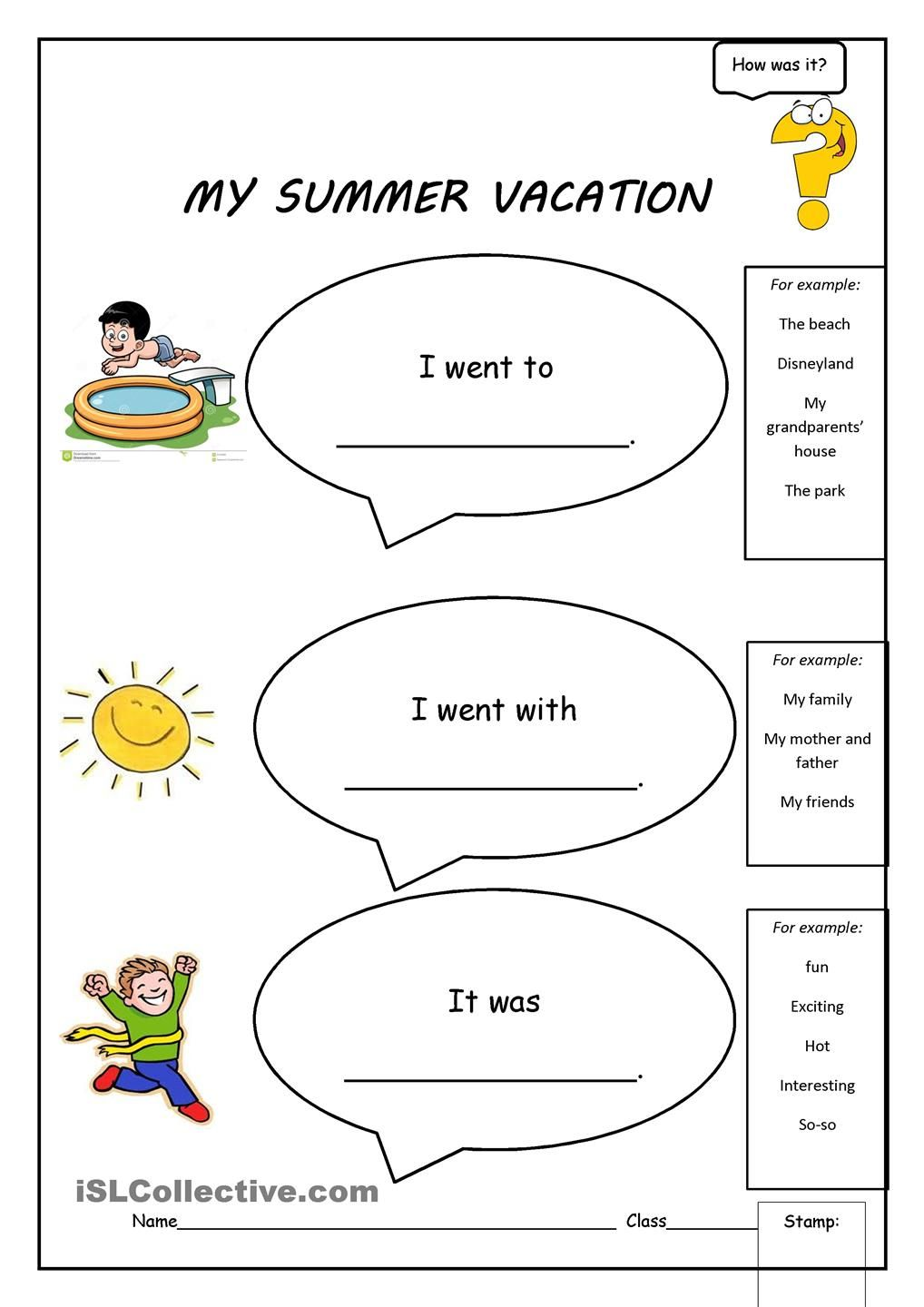 My Summer Vacation | sarah | Summer worksheets, Worksheets, Vacation