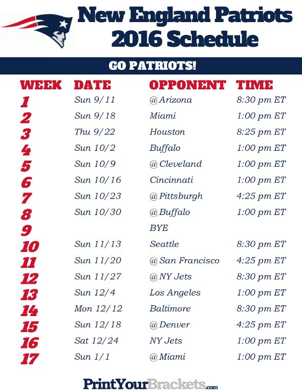 photograph about Patriots Printable Schedule identified as Contemporary England Patriots Timetable - 2016 Printable NFL