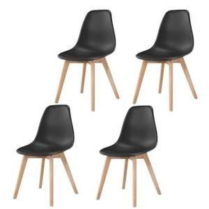Lot de 4 Chaises de Salle à manger Pieds massif Chaises Scandinaves Noir