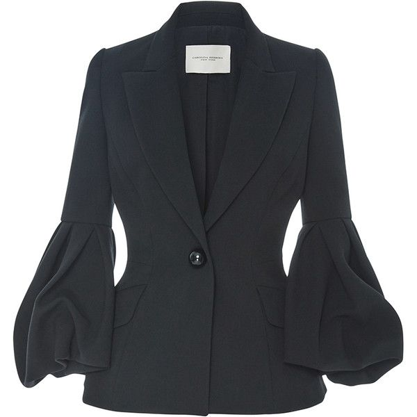Carolina Herrera Bell Sleeved Blazer Jacket (57.767.370 VND) ❤ liked on Polyvore featuring outerwear, jackets, blazers, carolina herrera, tailored jacket, single breasted jacket, blazer jacket and bell sleeve jacket