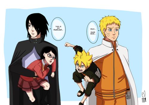 -Sasuke a Naruto :3 -Sarada a Bolt :3
