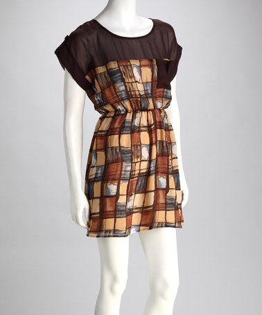 Take a look at this Chocolate Checkered Dress by Love Tree on #zulily #fall today!