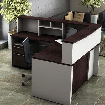 OfisLite 5 Piece L-Shape Reception Desk Suite Set