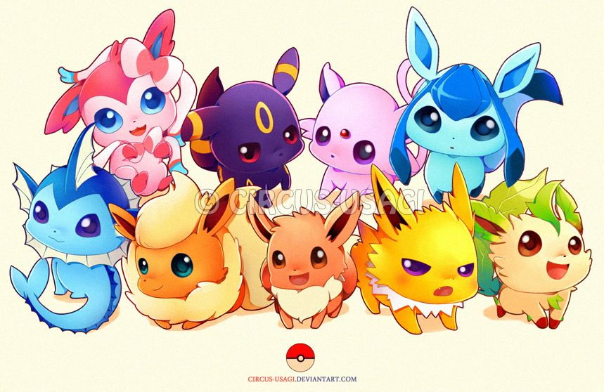 E E V E E L U T I O N S By Circus Usagi Deviantart Com On Deviantart Avec Images Pokemon Evoli Pokemon Mignon Evoli
