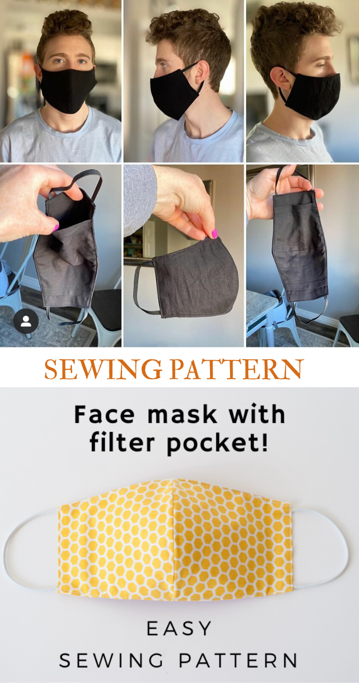 Photo of Face Mask Sewing Pattern PDF Mask with filter pocket for kids men women Washable Reusable Mask Dust mouth Mask  Beginner project DIY Easy