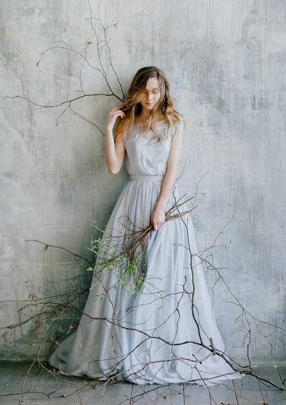 Flowing blue grey wedding dress with floral lace decoration//Romantic wedding gown// Rustic wedding dress of grey color